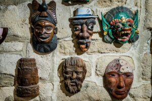 witchcraft 300x200 - masks hanging on wall. Collection of  masks