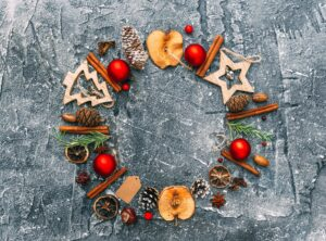 christmas low carb recipes 300x222 - Christmas  decorations. Flat lay composition over dark background